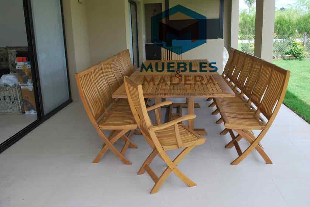 Sillones plegables con apoyabrazos en teka muebles de for Muebles de teka para jardin